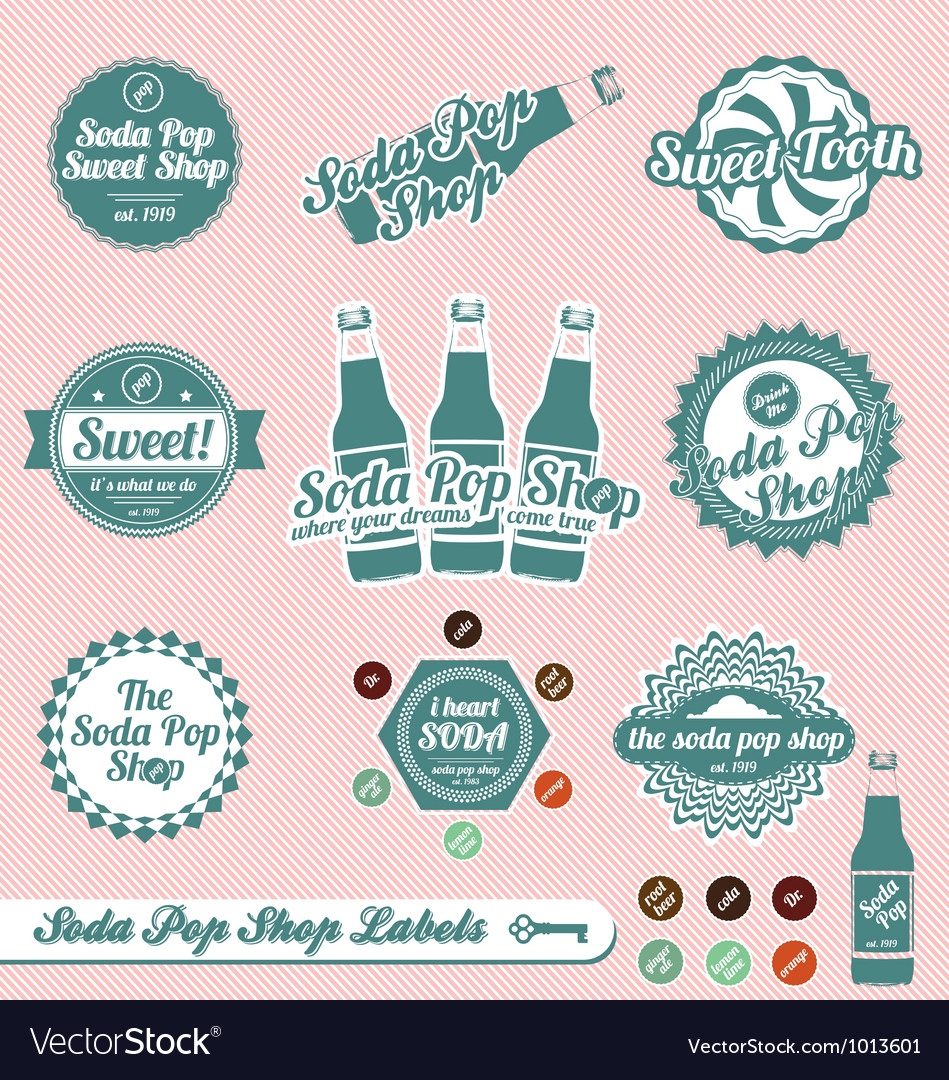 Vintage Soda Pop Labels And Stickers Royalty Free Vector