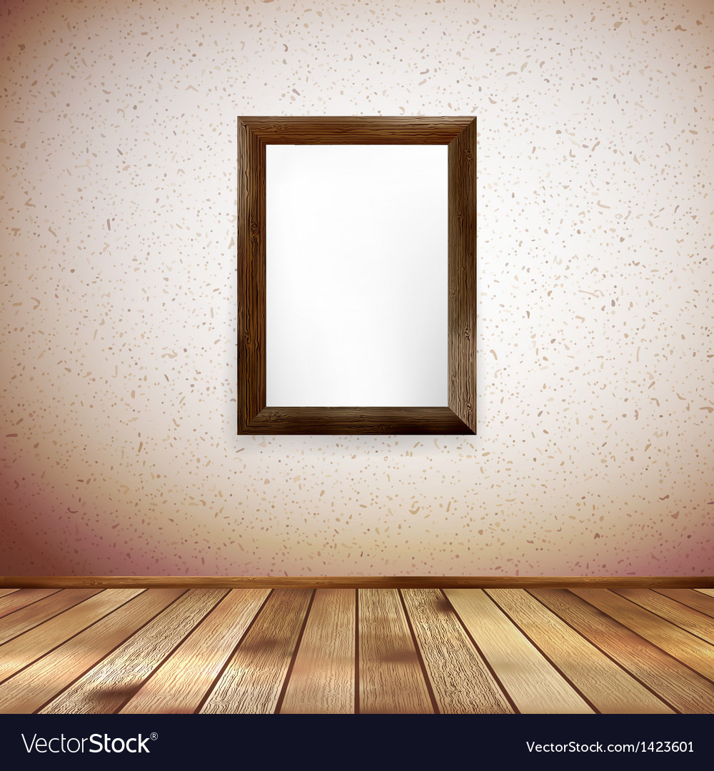 Wooden rectangular 3d photo frame EPS 10 Vector Image