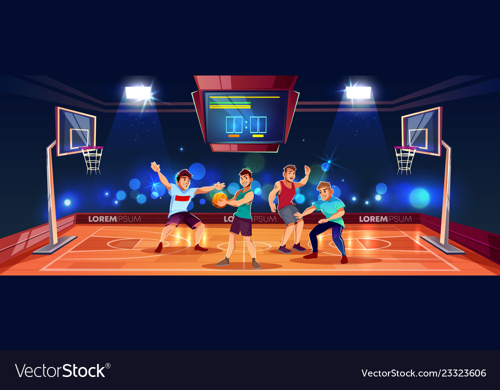 Background with people playing basketball