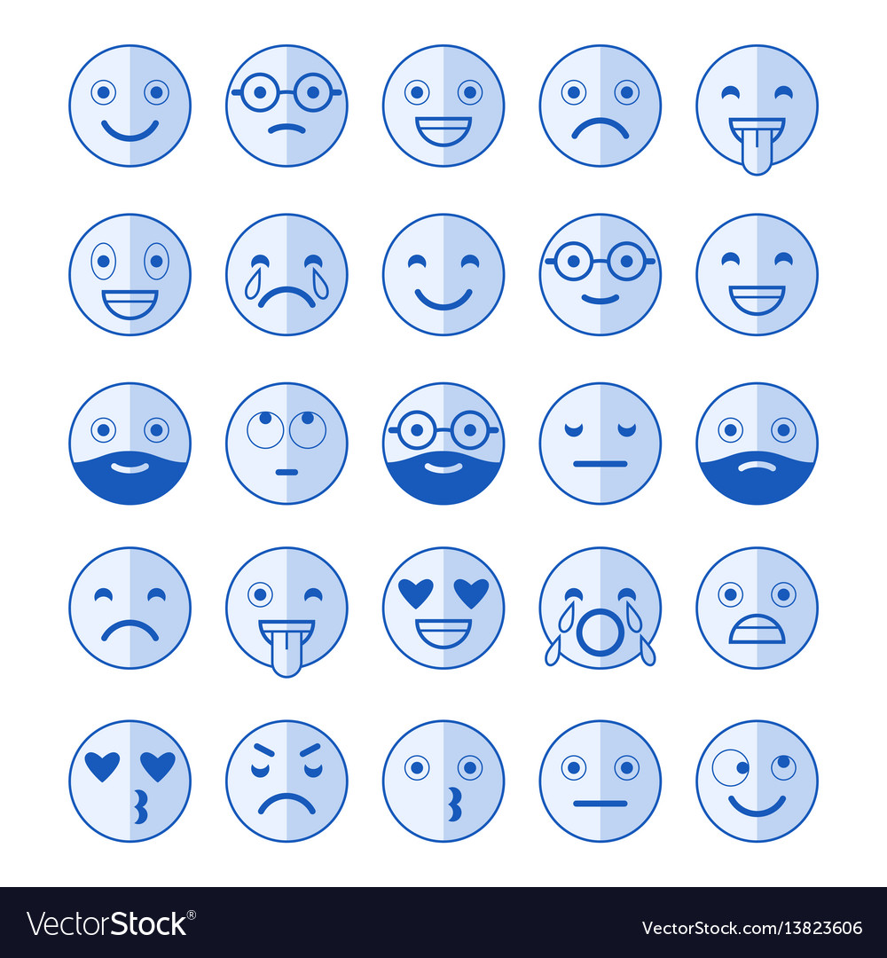 Blue flat icons of emoticons smile with a beard