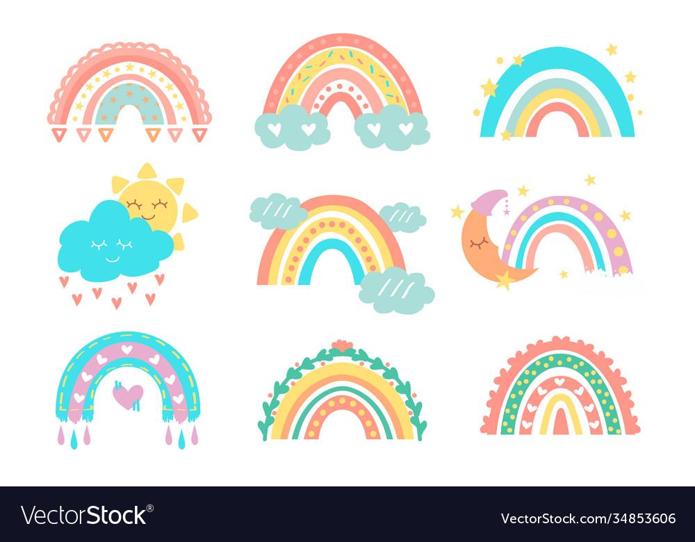Cute rainbows kids doodle collection sun