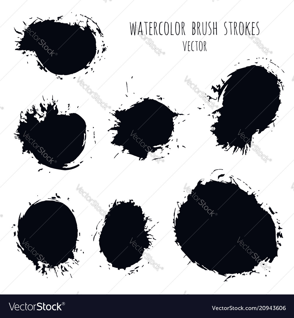 Dark black grunge watercolor ink texture set