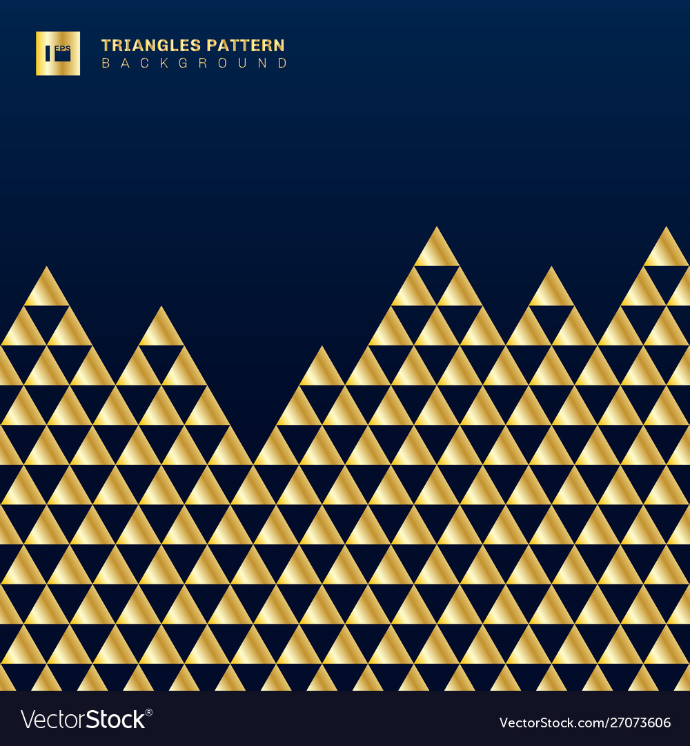 Geometric gold triangles luxury seamless pattern