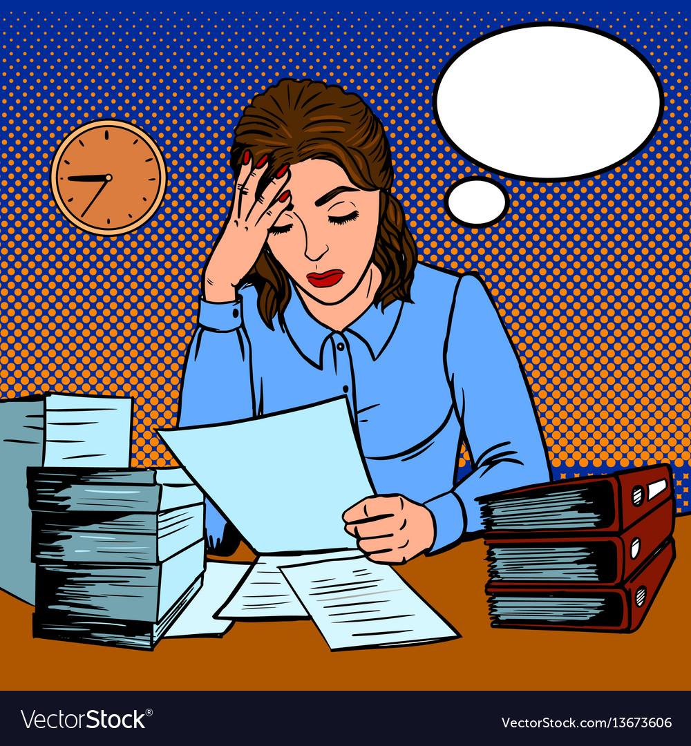 Girl working hard in office pop art style vector image