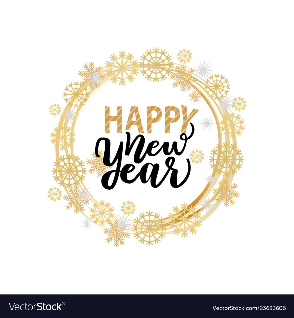 Happy new year lettering text with calligraphic
