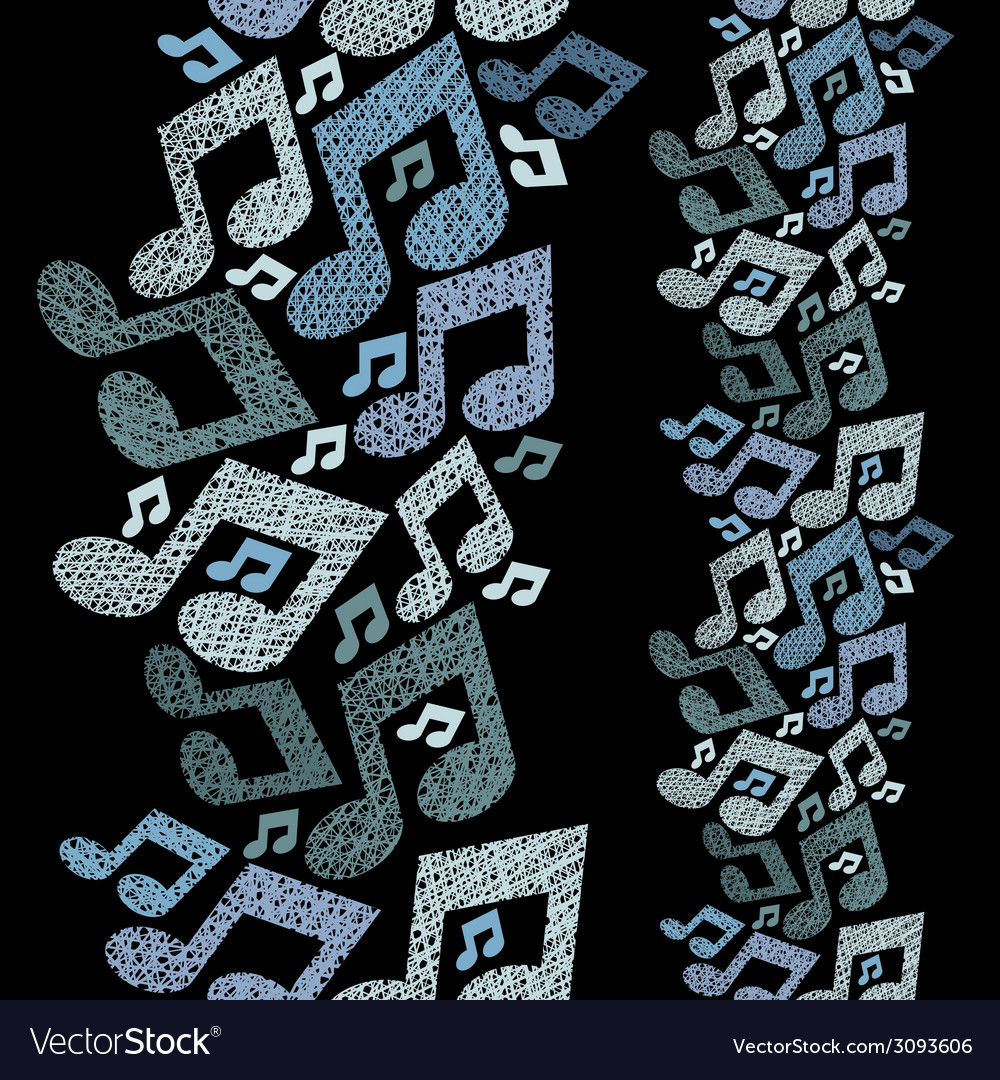 Music theme seamless pattern with notes vertical