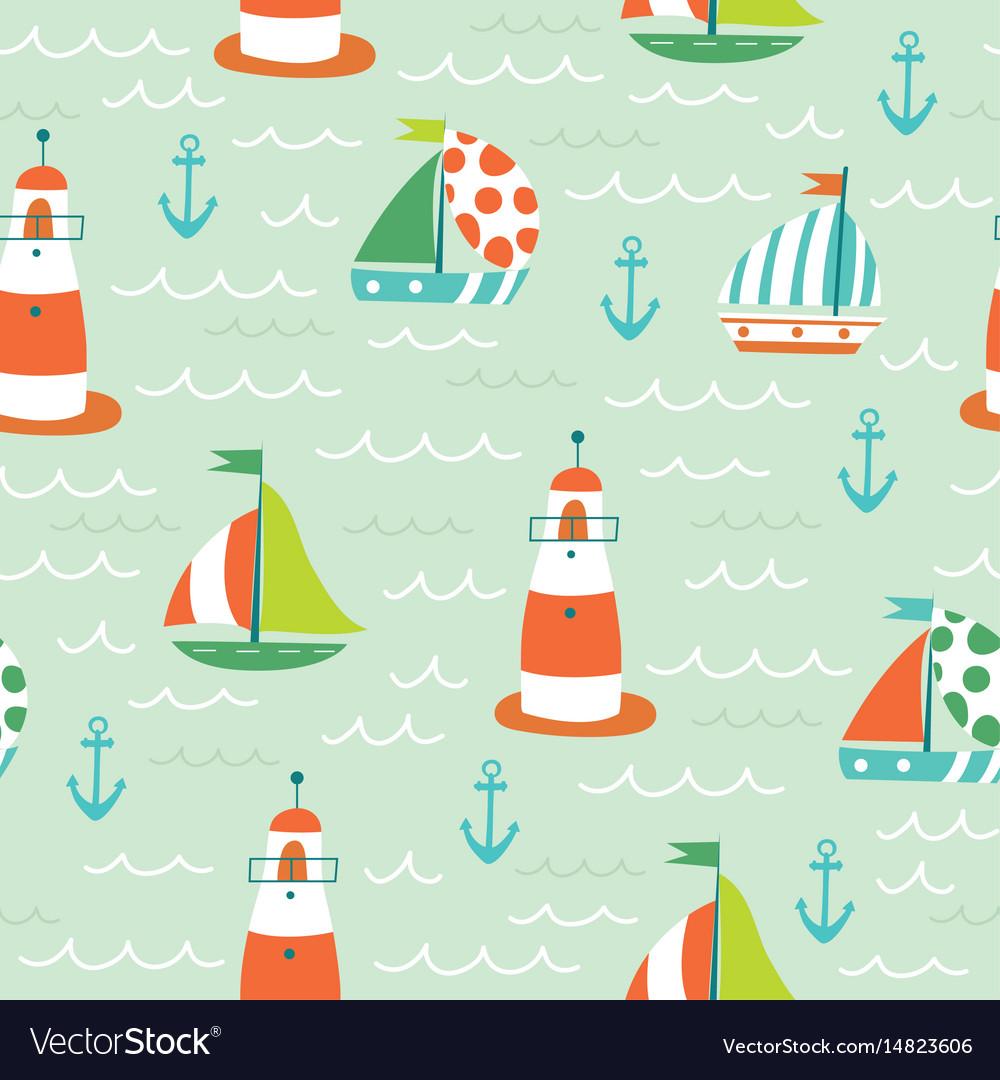 Nautical sea seamless pattern