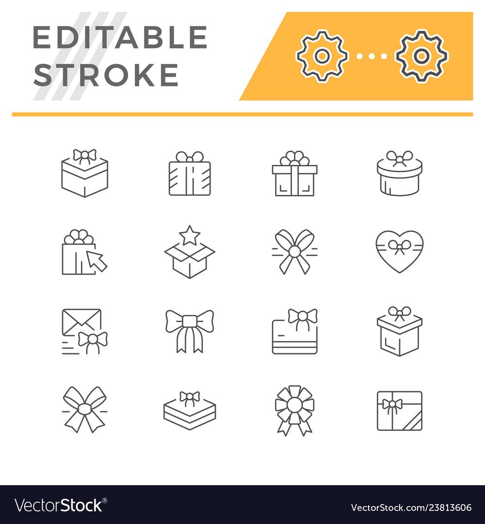 Set line icons gift