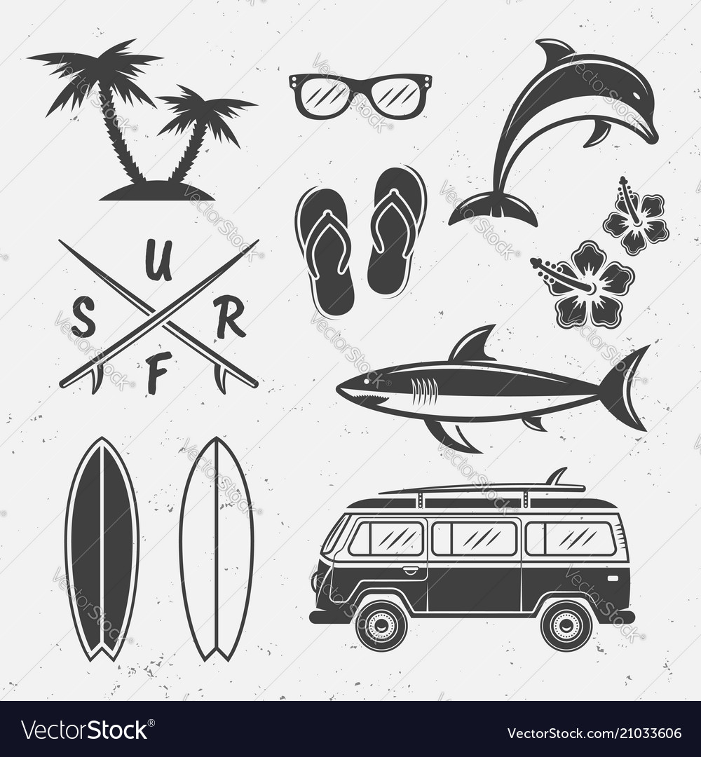 Surfing black icons and design elements