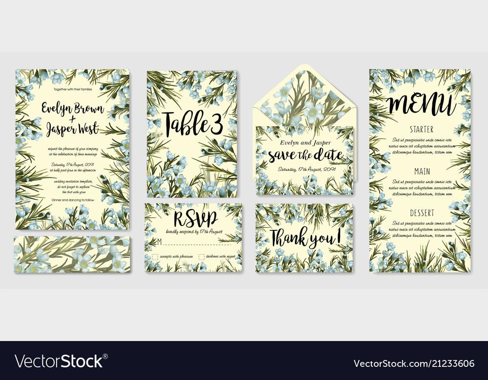 Wedding invitation frame set blue wax flowers