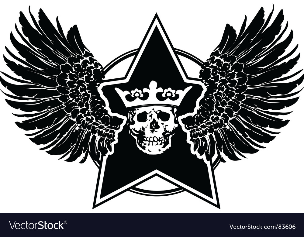 Wings skull and star sign