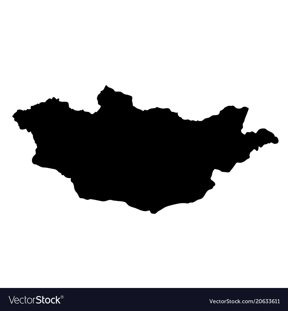 Black silhouette country borders map of mongolia