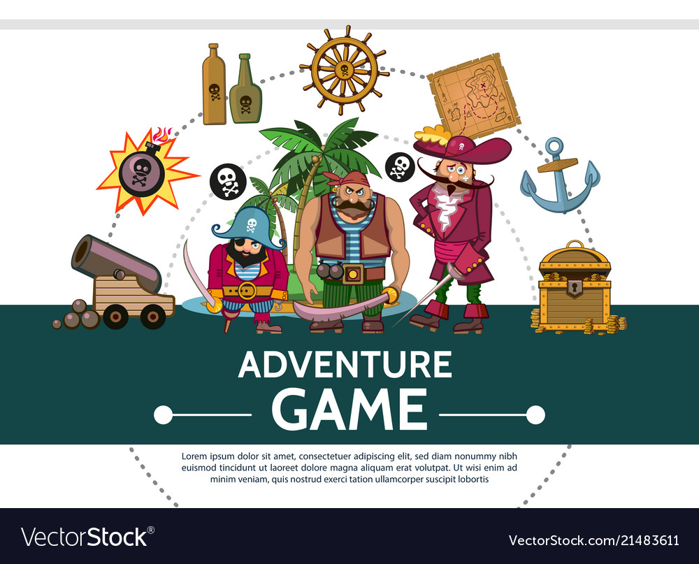 Cartoon adventure game ui elements composition