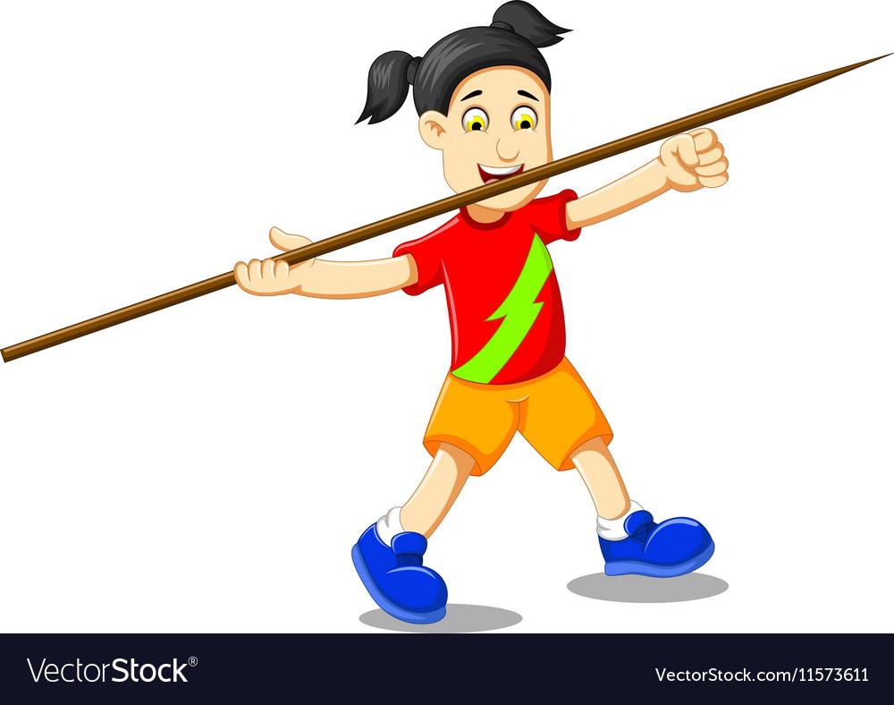 Funny girl cartoon playing javelin