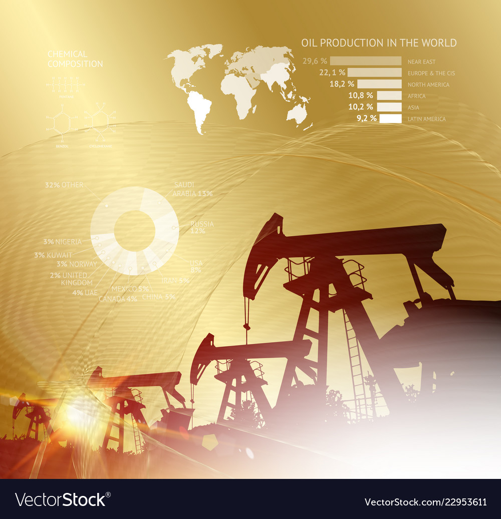 Oil derrick infographic with stages process oil