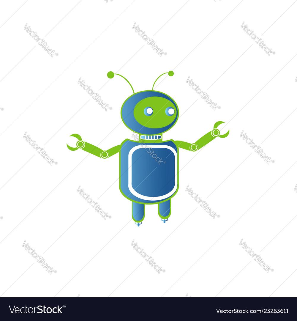 Robot logo artificial intelligence badge for