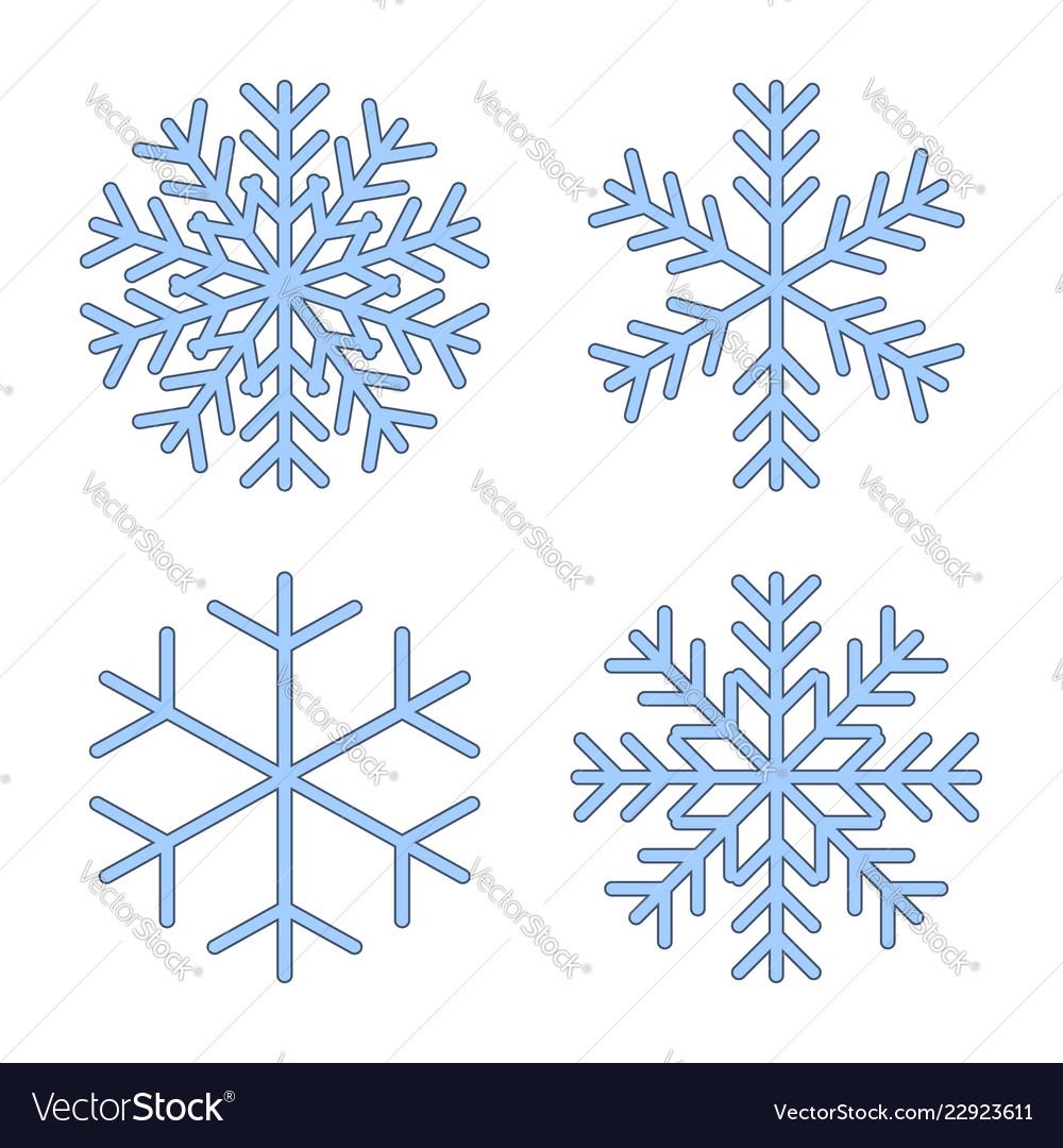 Snowflakes signs set blue snowflake icons