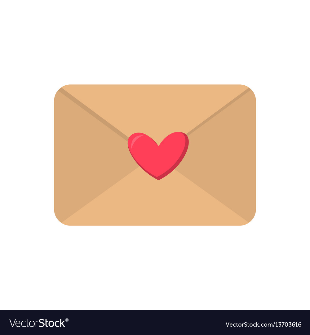 Cute cartoon flat love envelope icon vector image