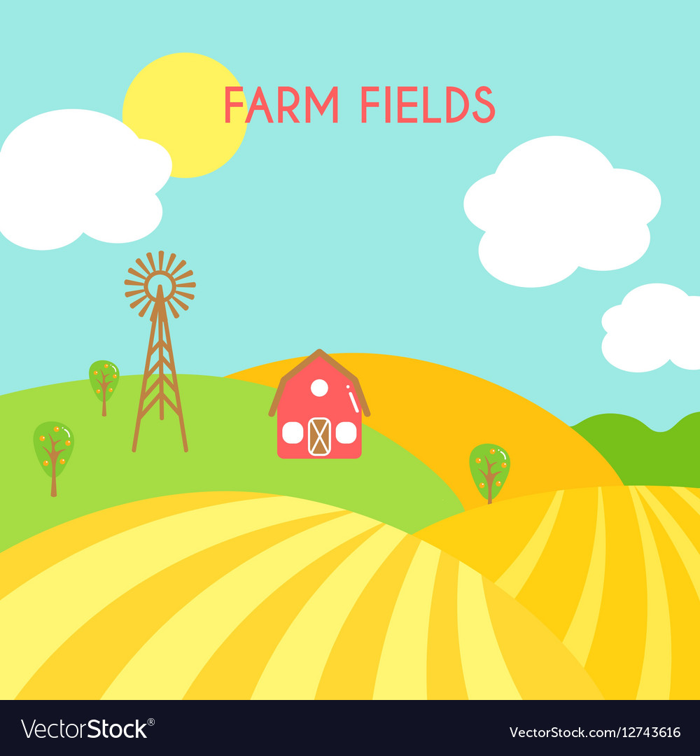 Farm fields landscape Cartoon green field of Vector Image for Farm Field Cartoon  177nar