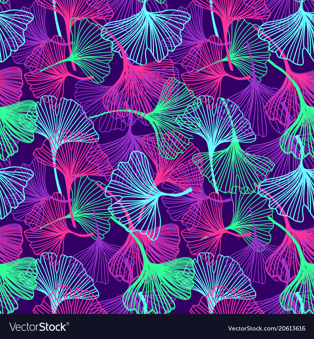 Floral tropical background in neon colors Vector Image