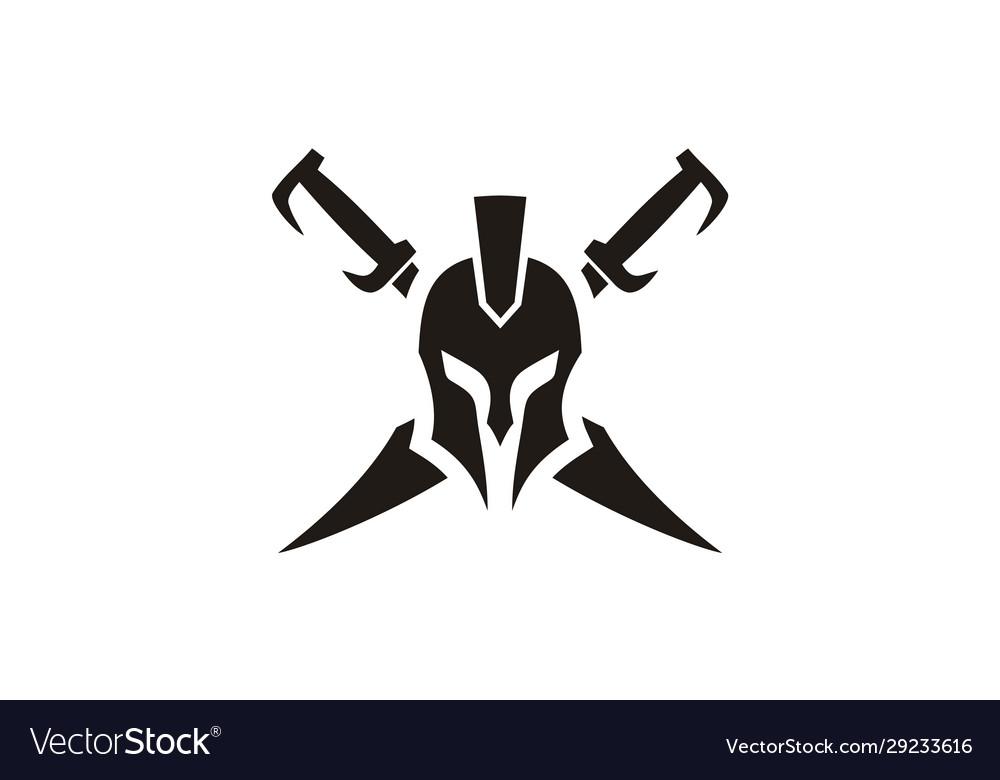 Geek spartan warrior helmet sword armor logo