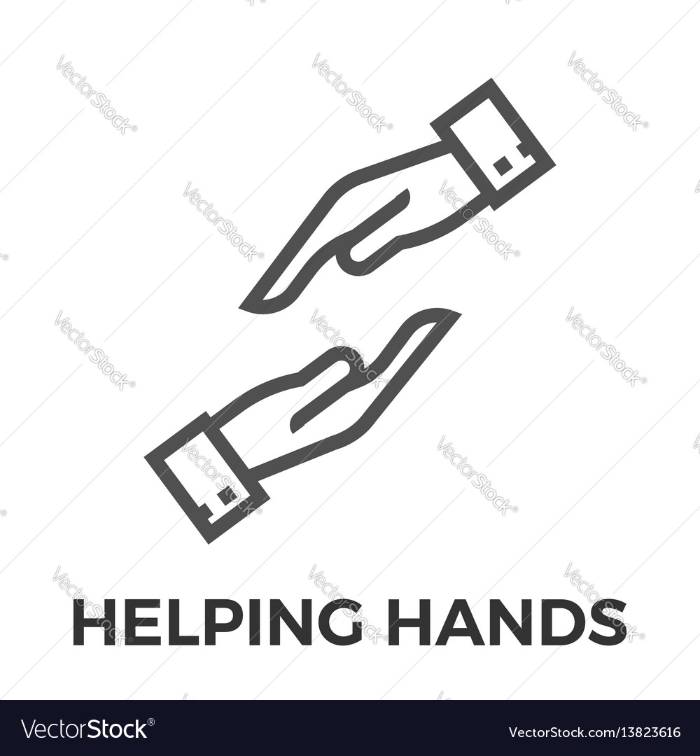 Helping hands thin line icon