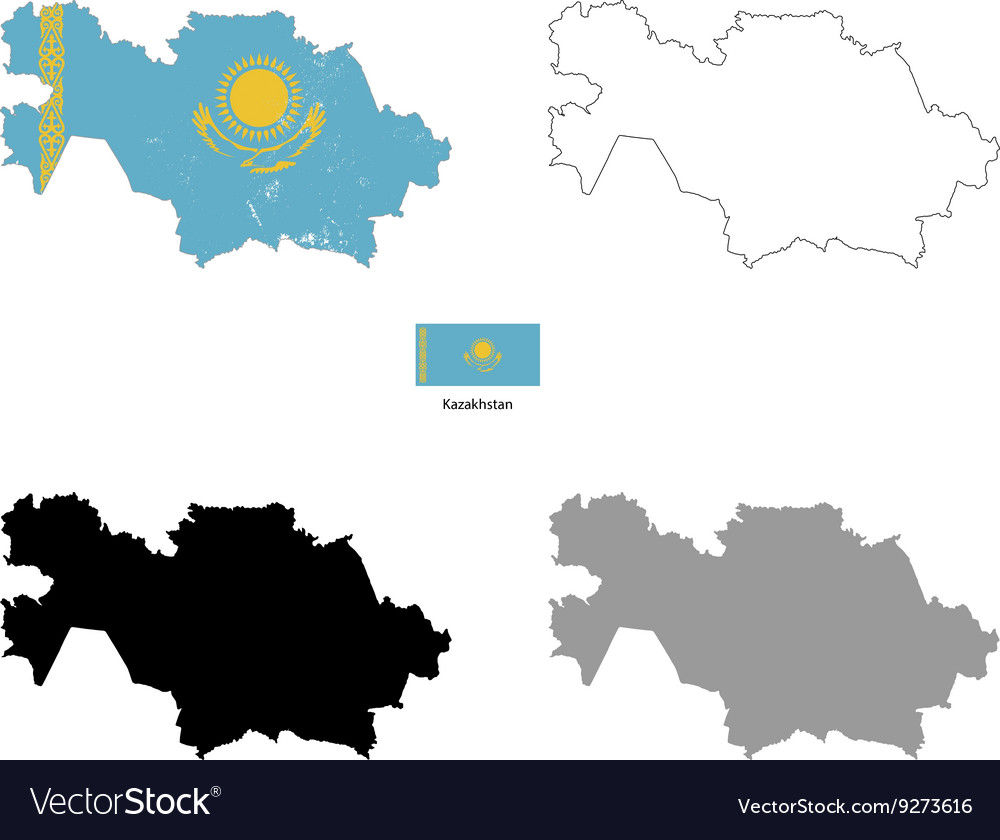 Kazakhstan country black silhouette and with flag