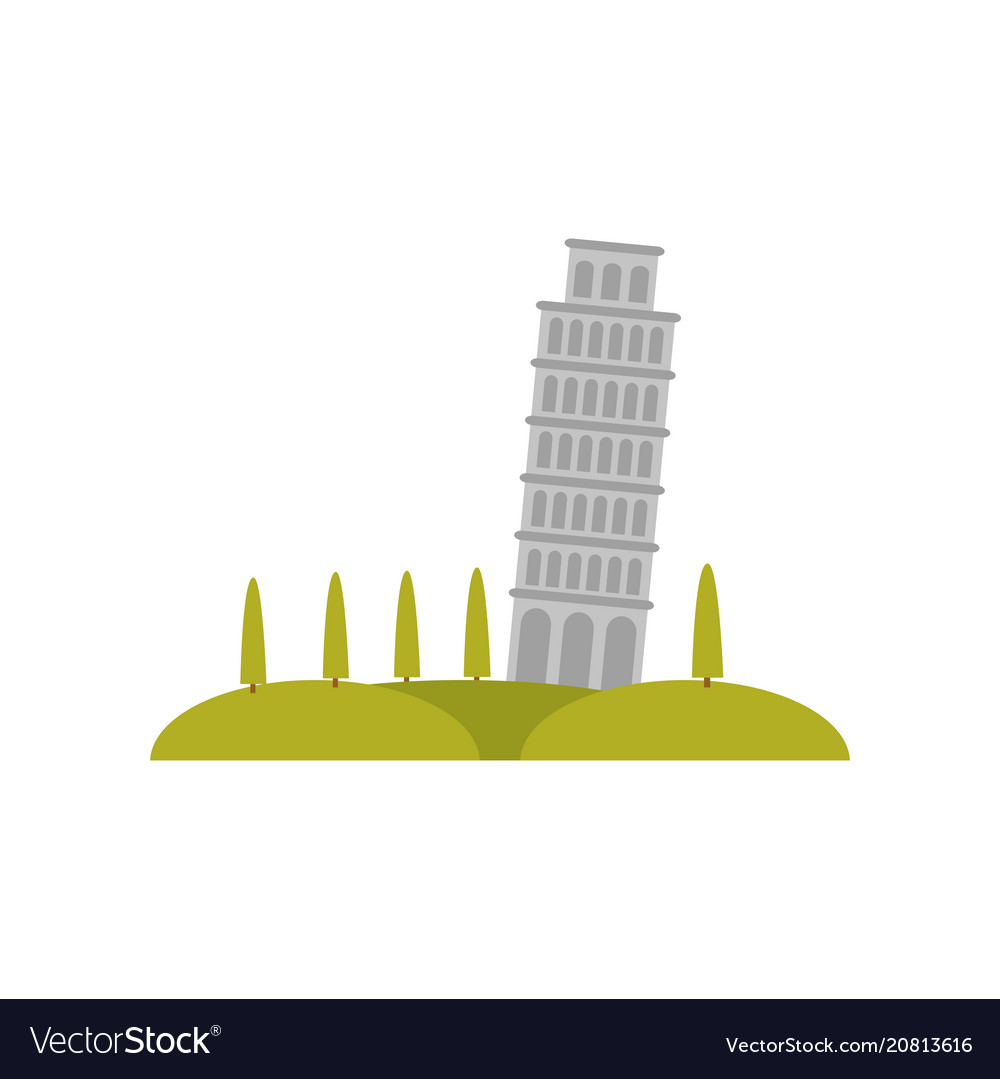 Leaning pisa tower green hills and trees famous