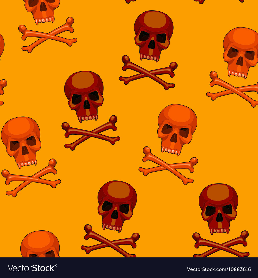 Seamless skull and crossbones cartoon