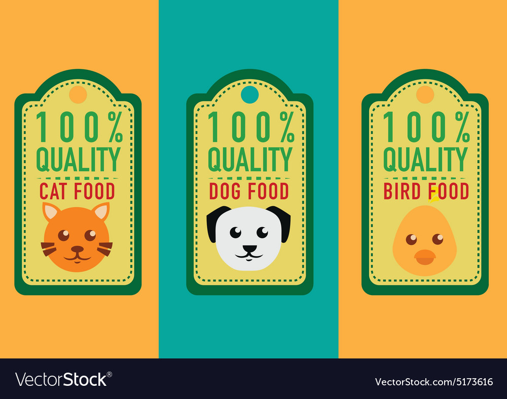 Set of healthy pet food labels and stickers
