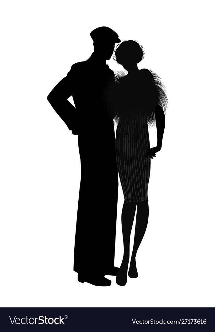 Silhouette couple retro style 20s or 30s man