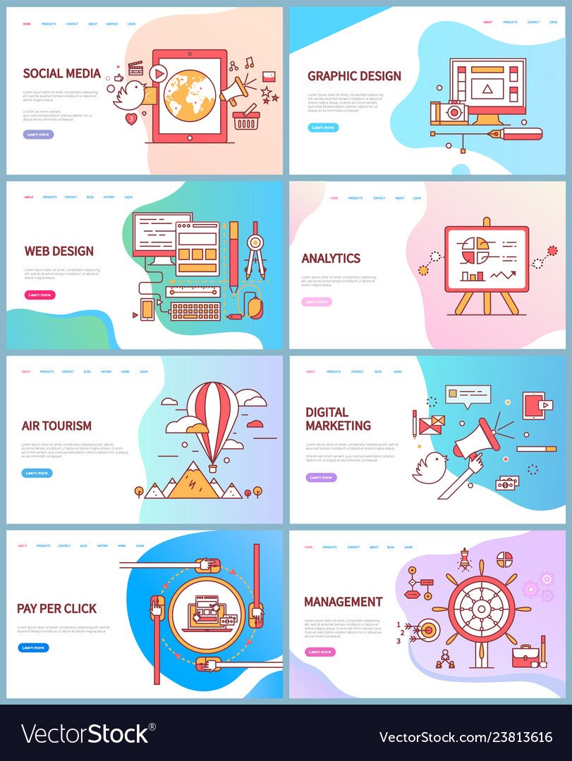 Social Media Graphic And Management Website Vector Image