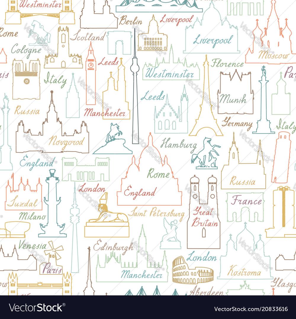 Travel world landmarks tile pattern travel sight