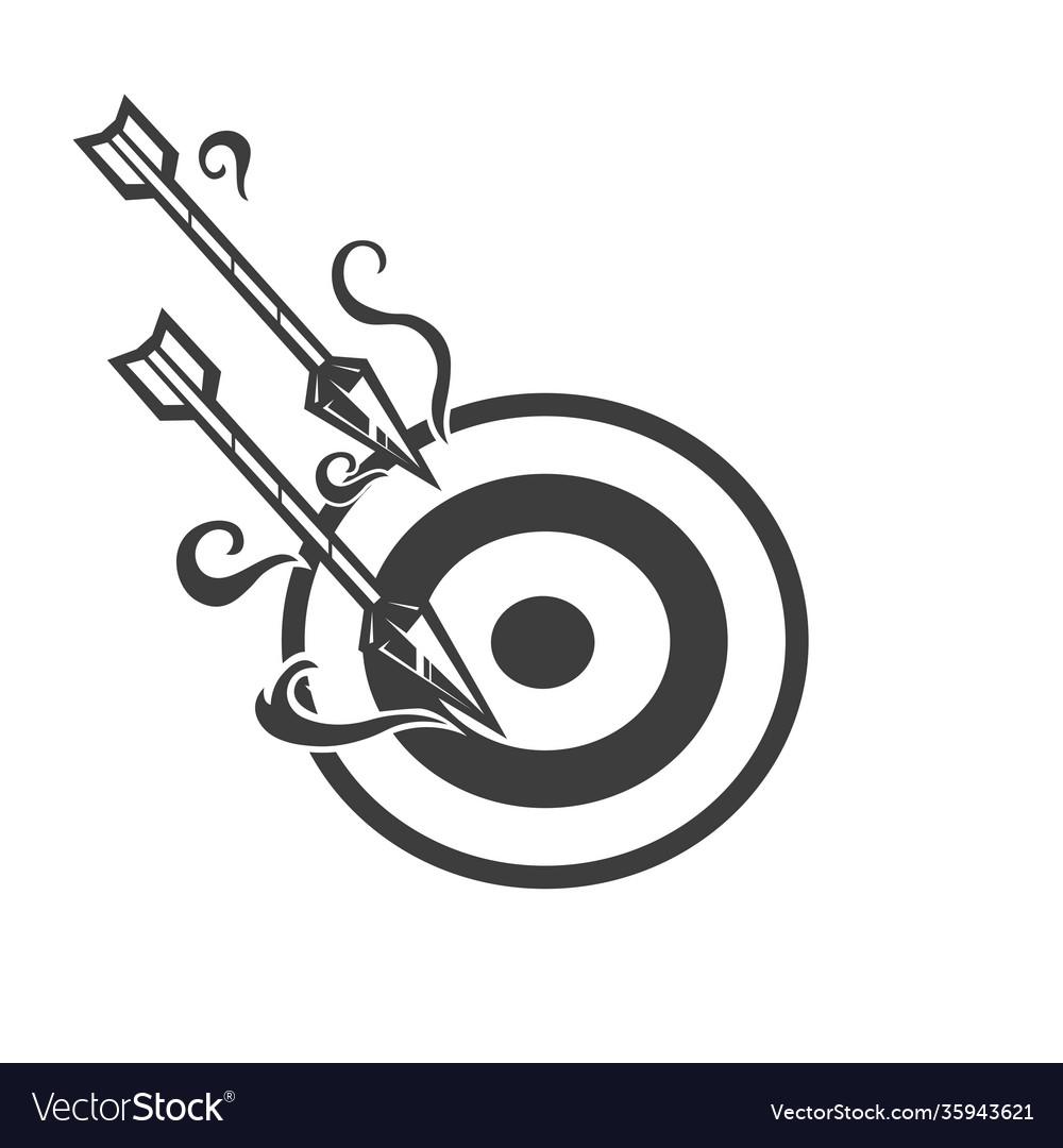 Arrow mascot logo design black and white version