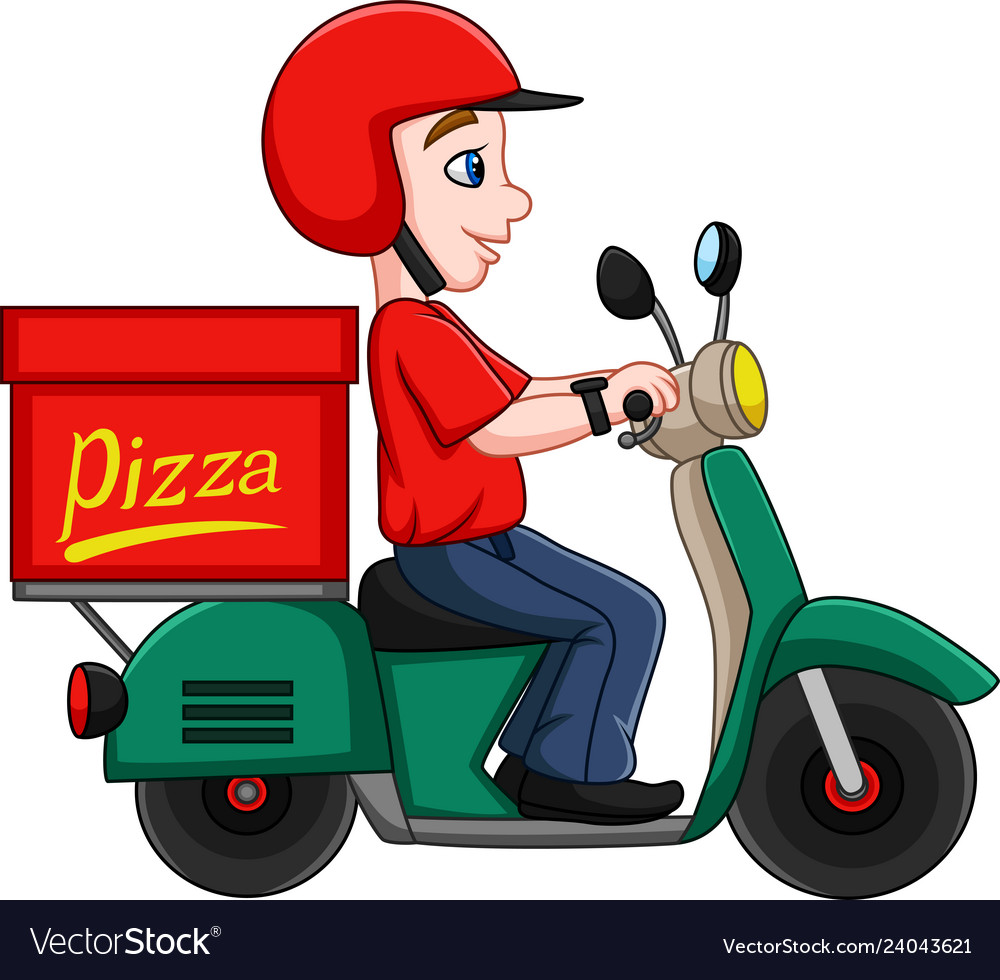 Cartoon pizza delivery man riding a scooter