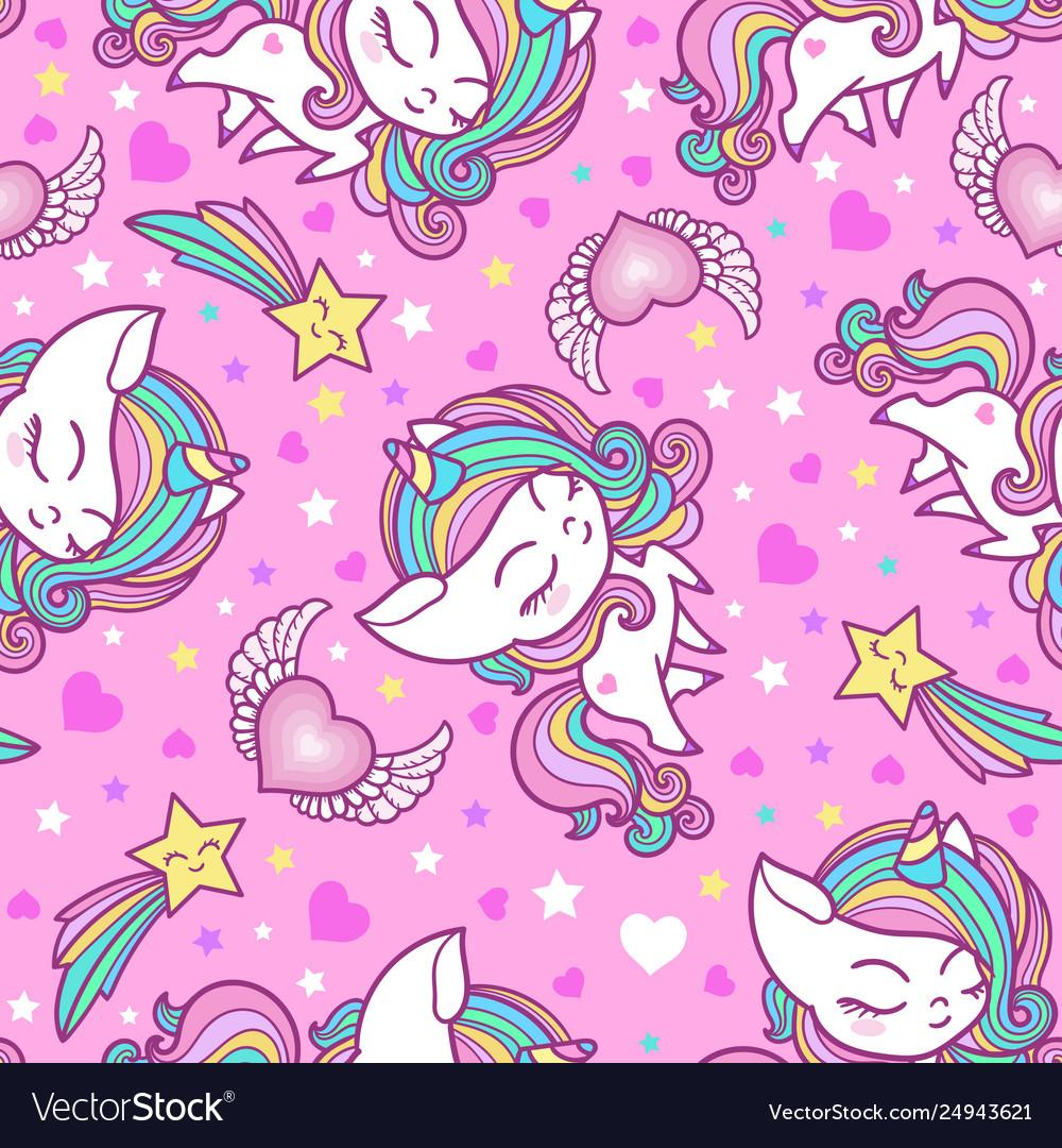 Cartoon seamless pattern with unicorns sweets