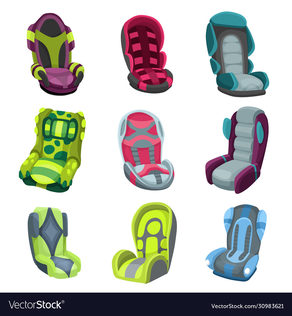 Collection baby car seats cartoon flat style