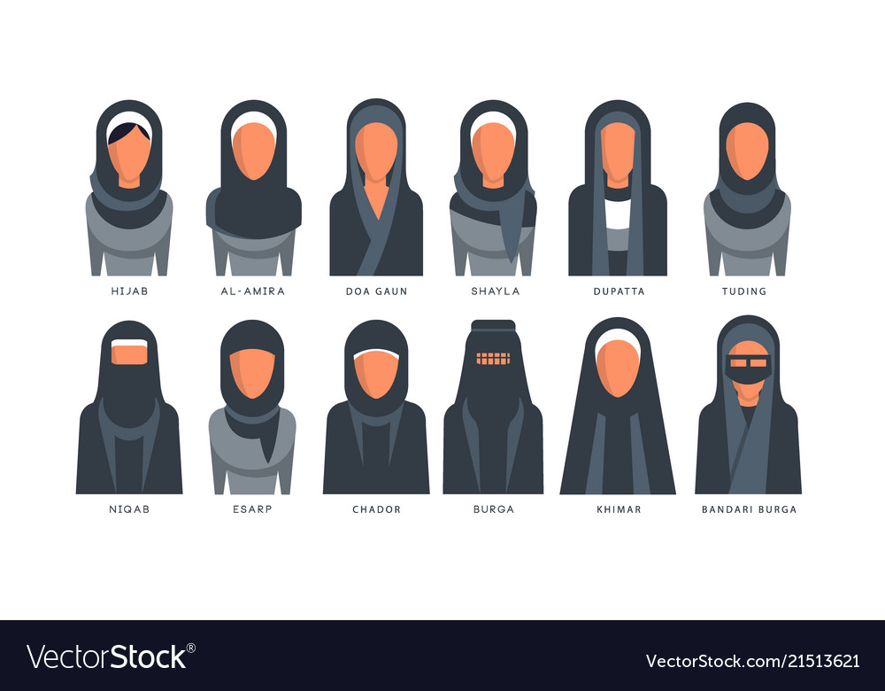 aafa4c18f9ed Collection of muslim traditional hijab type models vector image