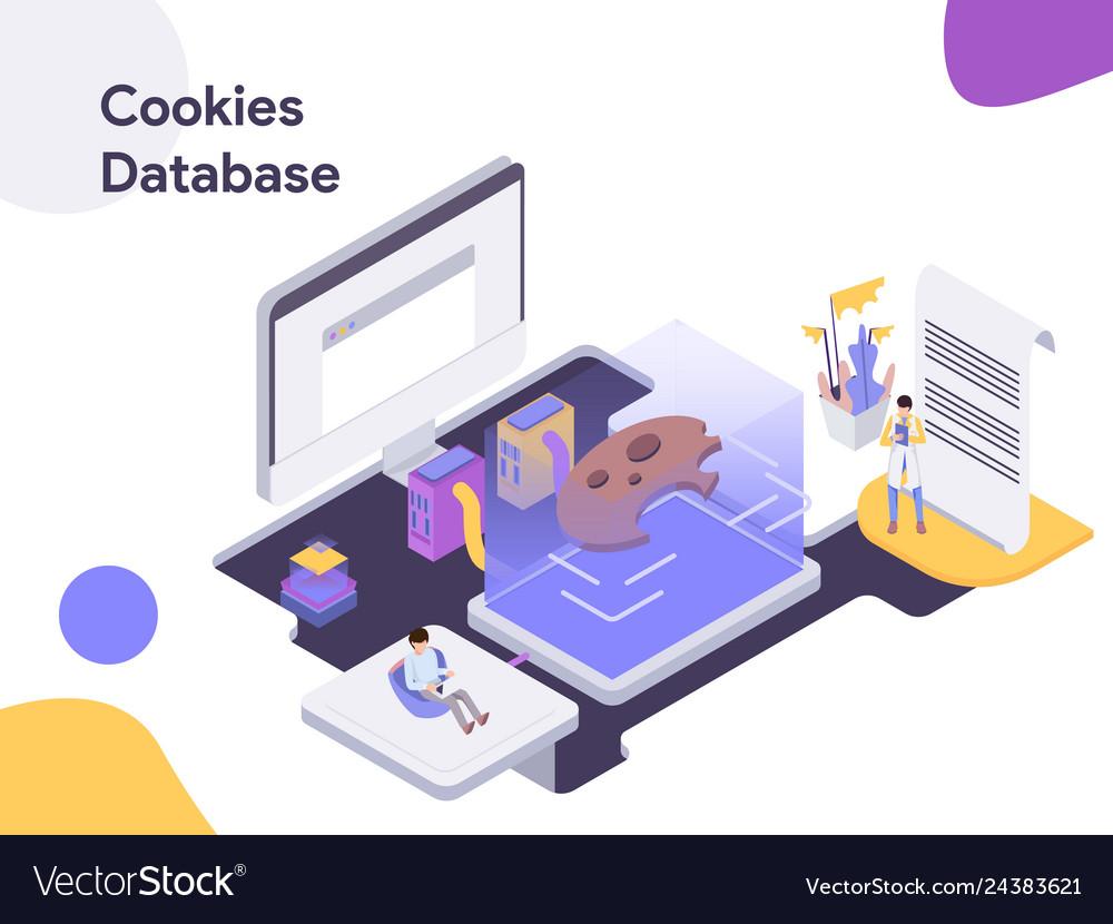 Cookies database isometric modern flat design