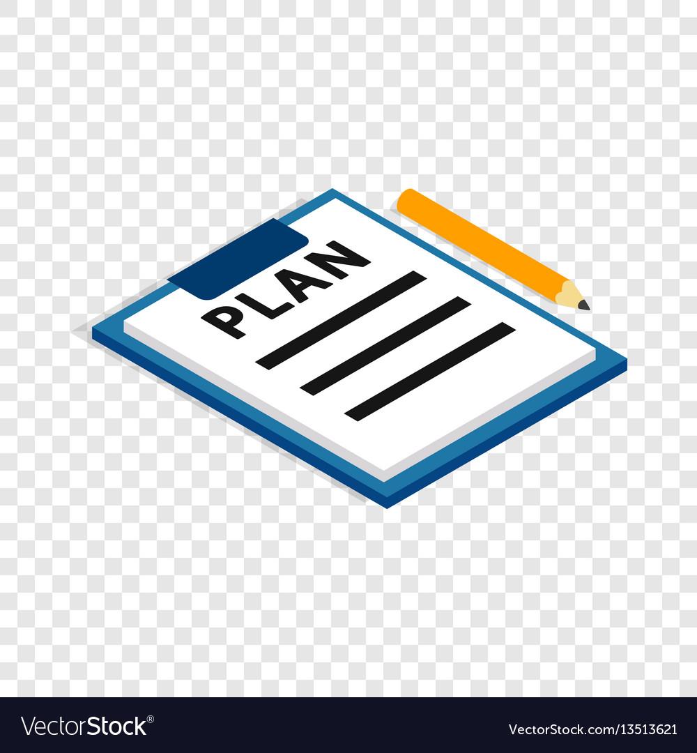 Document plan isometric icon vector image