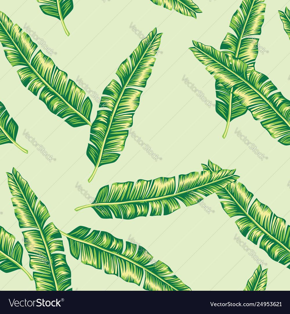 Green banana leaves seamless lime background