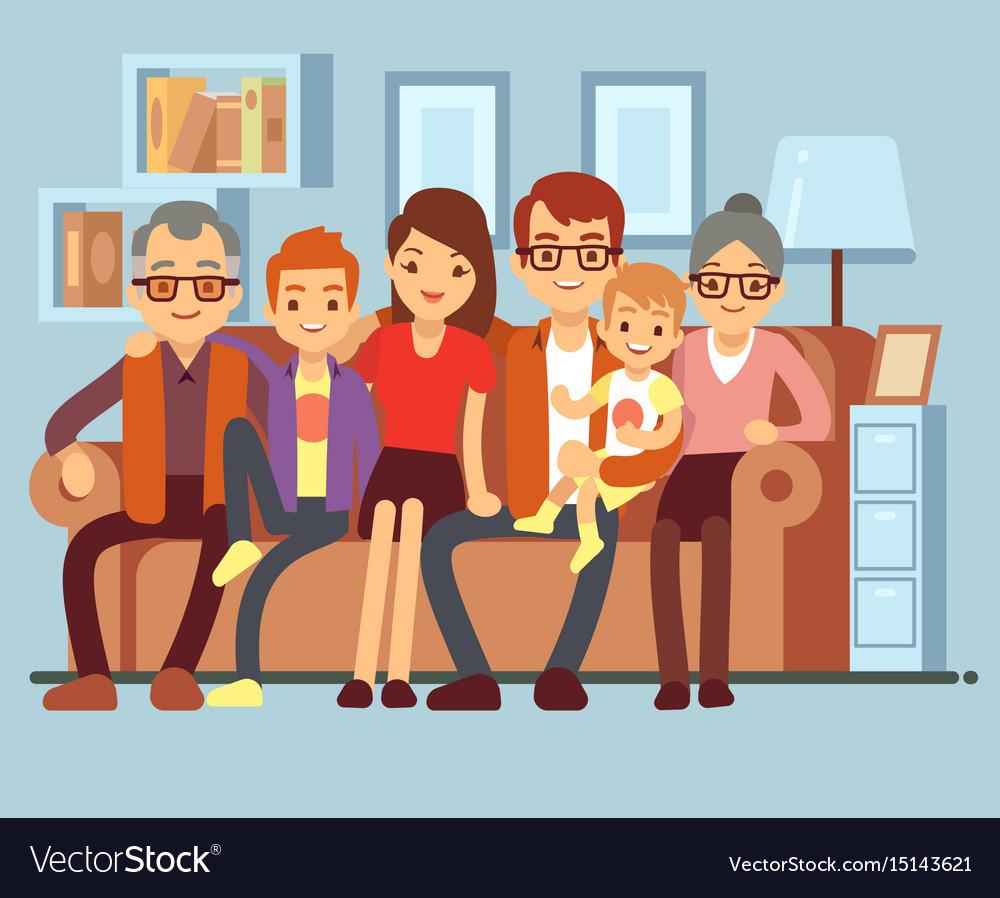 Happy family sitting on sofa grandpa and grandma vector image