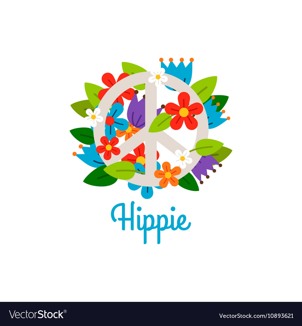Hippie vintage label with flowers
