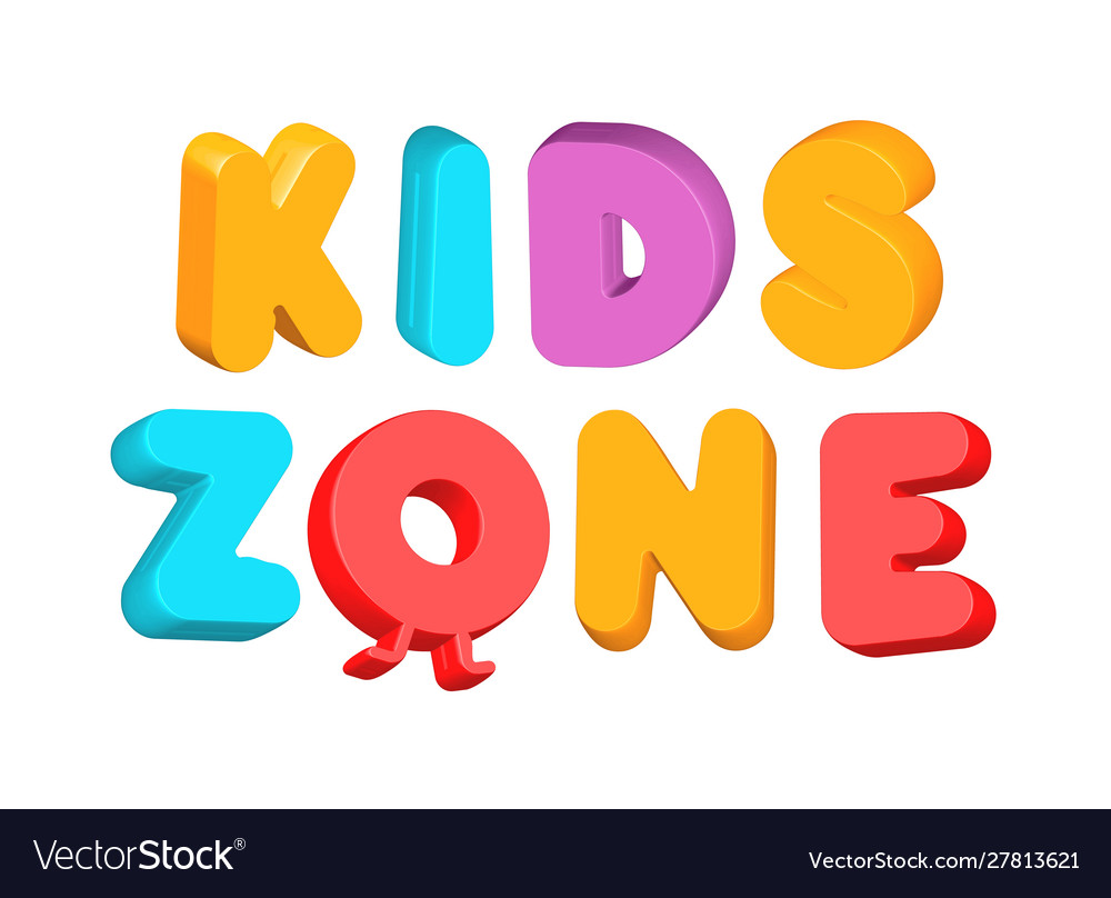 Kids zone colorful letters playroom 3d logo
