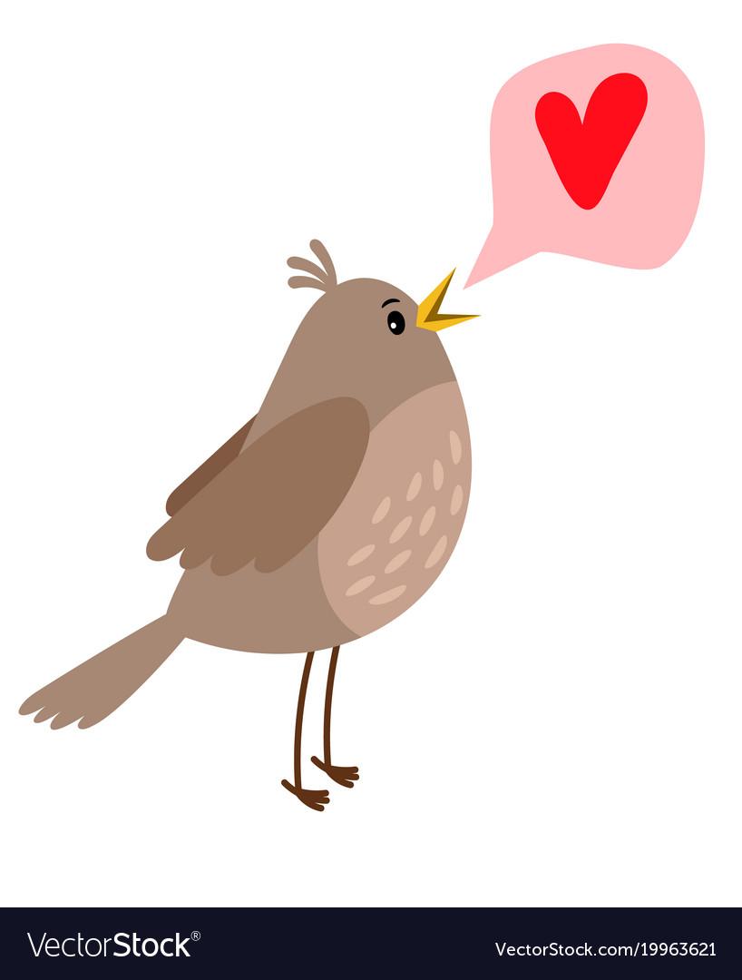 Nightingale cute bird icon vector image