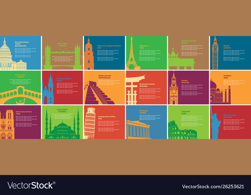 Set banners with different historical sites