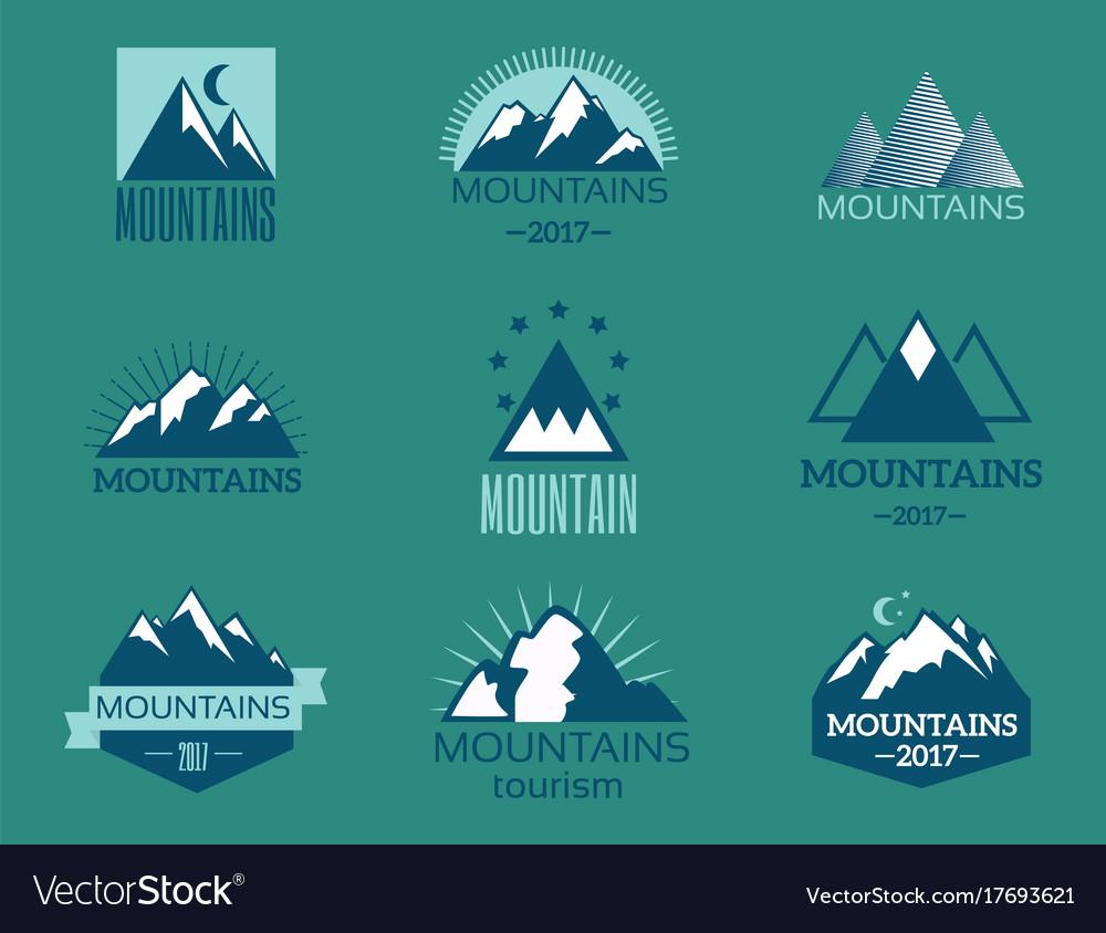 Set of mountain exploration vintage emblems