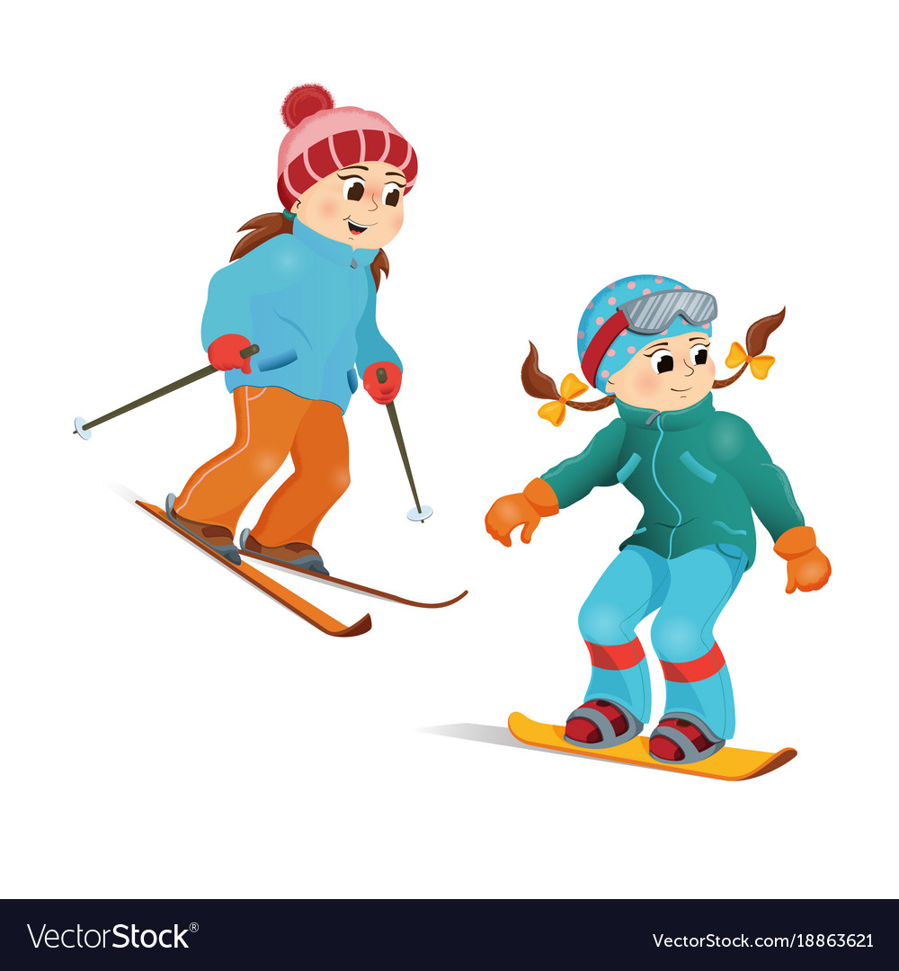 two girls in warm clothes snowboarding and skiing vector image