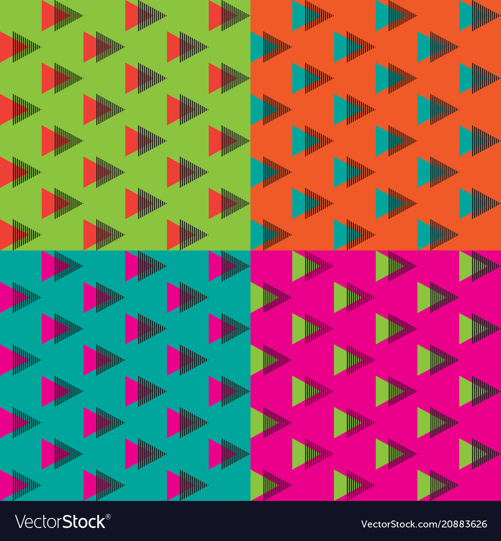 4 colors of seamless triangle memphis pattern