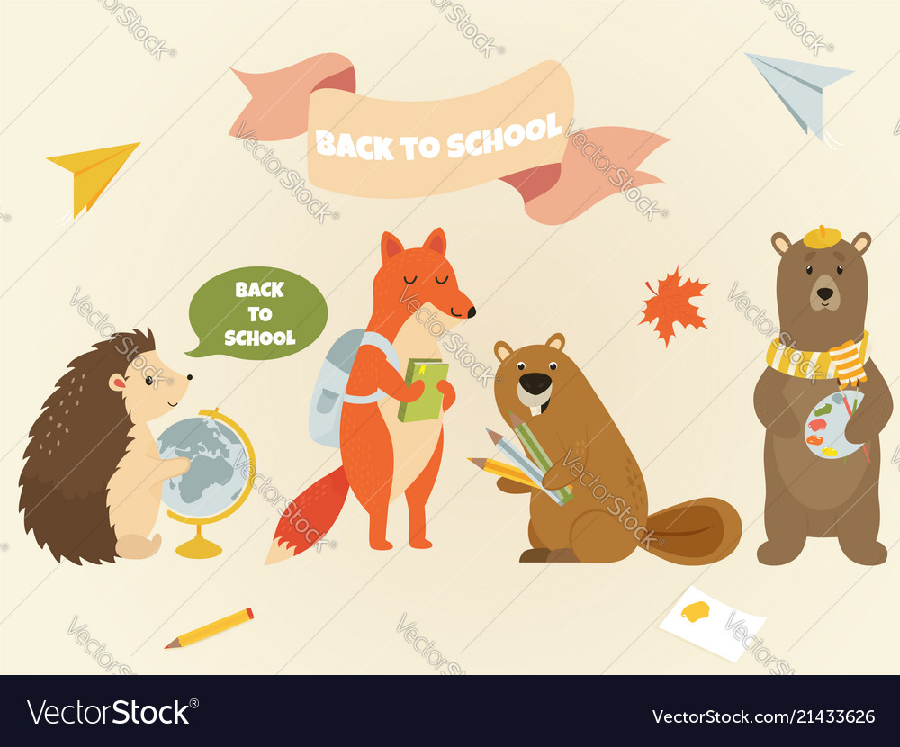 Back to school animal characters education design